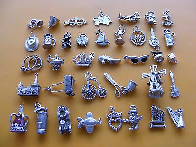 Q Vintage Sterling Silver Charm Yacht Clock Anchor Trumpet Shoe Bell Bike Golf