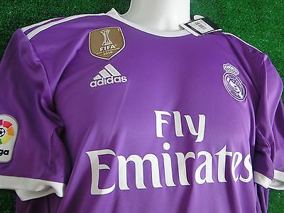 Real Madrid** Wc Gold Badge ** Marcelo ** Away Shirt 2016-17  Size Large Bnwt