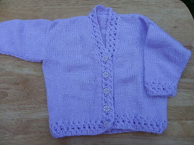 Hand knitted lilac baby cardigan 6 - 12 months - Handmade baby clothes - baby