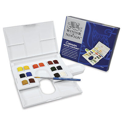 Winsor and Newton Cotman Watercolours - The Compact Set - 14 Half Pans & Brush