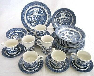 94 Churchill Willow Pattern Replacements China Mugs Cups Saucers Plates & Bowls