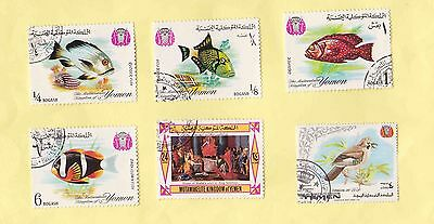 Kingdom Of Yemen Stamps 1967 Fishes/ Queen Of Sheba Painting 1969 Eurasian Jay