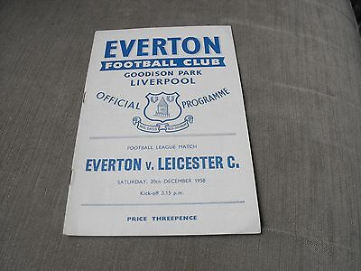 EVERTON v LEICESTER CITY 20/12/58, DIVISION 1