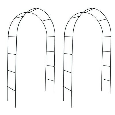 S#Iron Garden Arch for Climbing Plants and Roses 2pcs Garden Gate Archway
