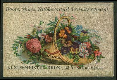 Zinsmeister Bros Boots Shoes Rubbers Trunks Syracuse NY trade card 1880s