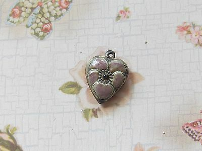 Vintage Sterling silver enameled puffy heart charm- ORCHARD LAVENDER pansy