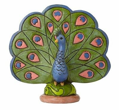 Jim Shore Heartwood Creek Miniature Peacock with Open Feathers Figurine 4055063