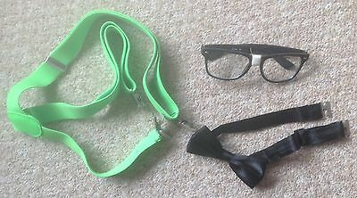 Fancy Dress Bundle Of Neon Green Braces, Black Bow Tie And Spectacles