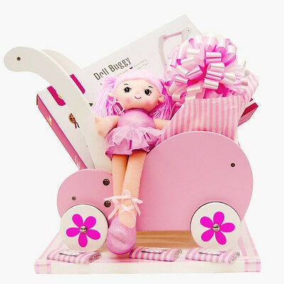 VIGA WOODEN BABY DOLL PINK BUGGY STROLLER PRAM pretend role play girls toy gift