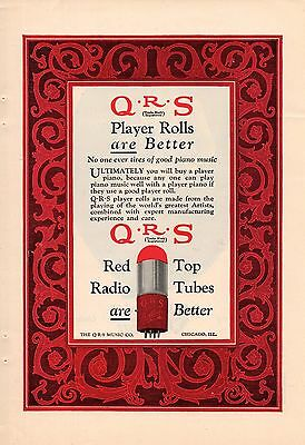 1925 Color Qrs Red Top Radio Tubes Ad-Player Piano Rolls