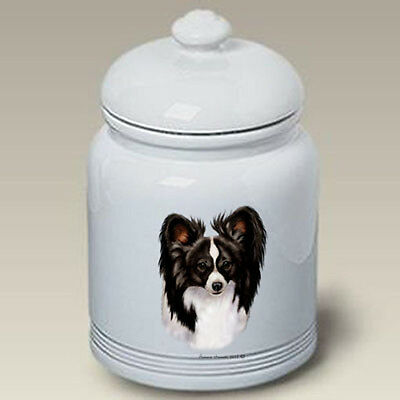 Ceramic Treat Cookie Jar - Black & White Papillon (TB) 34078