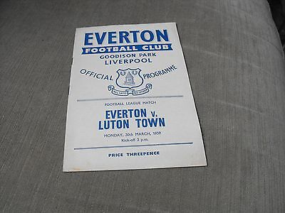 EVERTON v LUTON TOWN 30/3/59, DIVISION 1