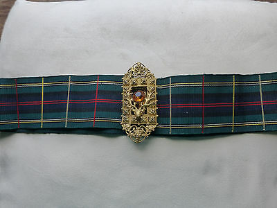 Antique Cairngorm gilt belt buckle on Tartan Grosgrain belt