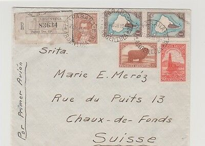 Argentina Air Mail and Regestered  Cover to Switzerland 1938