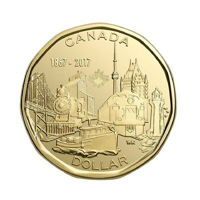 2017 Canada Loonie - Connecting A Nation $1 Dollar Gold Coin Canadian 150