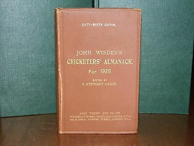 Wisden Cricketers' Almanack 1929 HB V.GOOD cond.(Value in Wisdens.org £481.05)NR