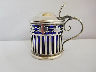 Classic Antique English Sterling Silver Drum Mustard Pot - Birm 1913