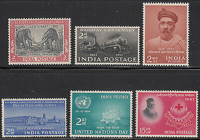 Independent India 6 Early Singles Scott #232/291 Mnh White Gum
