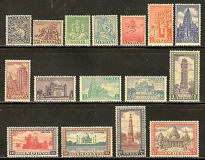 India 1949 Archaeology Temple Set Complete To 15R Scott #207-222 Mlh