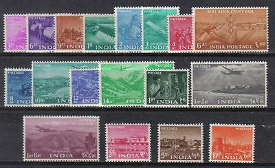 India 1955 Five Year Plan Definitive Complete Set 0F 18 Scott #254-271 Mlh