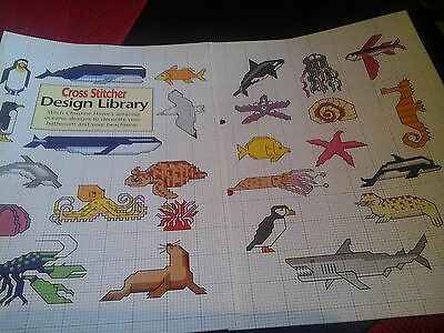 Cross Stitch Chart Design Library Sealife Aquatic Wildlife Theme  Motifs Charts
