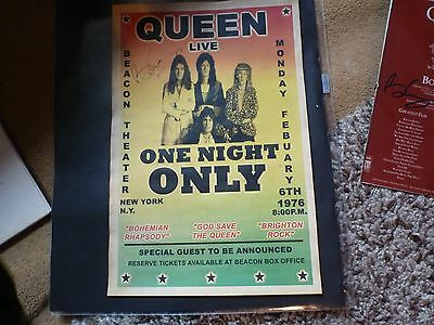 Queen, Freddie Mercury, Roger Taylor BRIAN MAY RARE USA SIGNED POSTER!