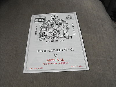 FISHER ATHLETIC v ARSENAL 2/8/88, PRE SEASON FRIENDLY