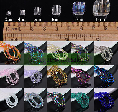 3/4/6/8/10mm Crystal Cube Square Glass Loose Spacer Beads Faceted Making Craft