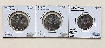 South Vietnam Coins Lot Of 3 2-1968 10 Dong And 1-1971 1 Dong