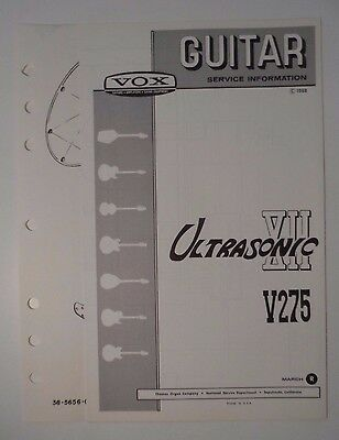 Original 1968 VOX Guitar - Ultrasonic XII V275  Service Information