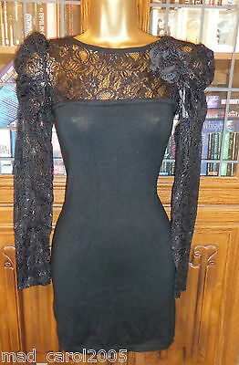 ENZORIA Black Lace Corsage Bodycon Stretch Long Sleeve Party Dress 10 12 NEW