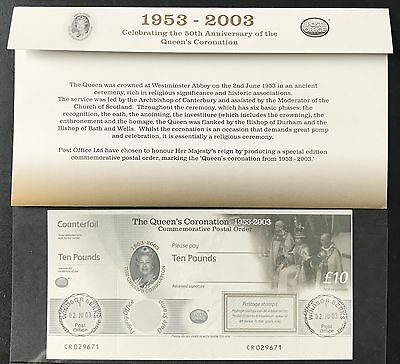 1953-2003 Queen's Coronation £10 Postal Order in a Presentation Pack