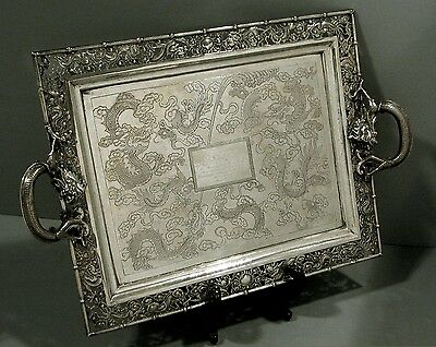 Chinese Export Silver Tray     DRAGONS   BATS                            SIGNED