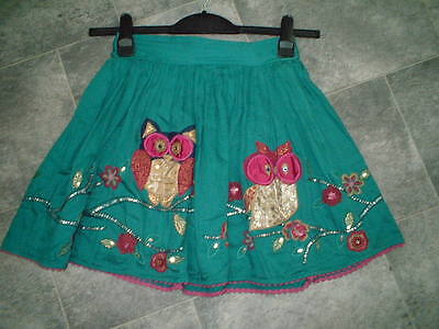 Monsoon Girls Green Appliqued Owls Cotton Skirt Age 12-13 Years