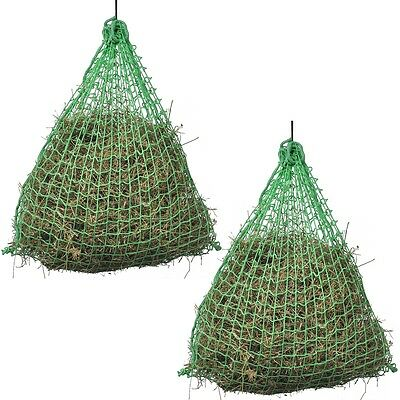#2 pcs Slow Feeding Bale Hay Nets Round 0.75x0.5 m PP Horse Pony Cattle Stable