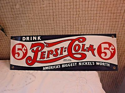 Bold Bright Pepsi-Cola 5 Cents Porcelain on Metal Sign -Reproduction SUPER Clean