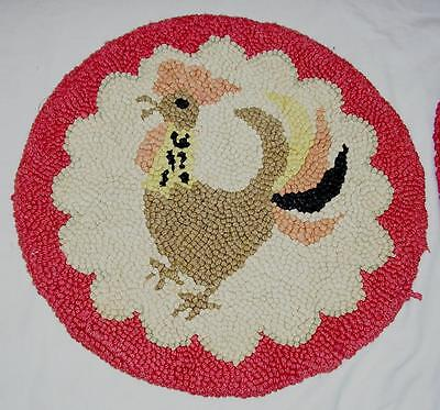 2 Antique / Vintage Round Hooked Rug Chair Pads - Roosters