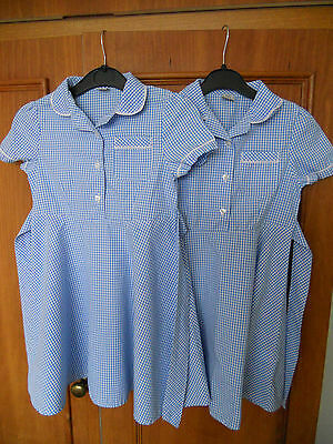 2 Identical Back Tu School Blue & White Check Gingham School Dresses Age 5 Years