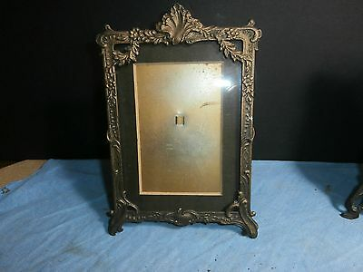 Antique Cast Brass ? Metal Ornate Stand Up Picture Photo Frame