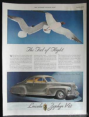 1942 Gray Lincoln-Zephyr V-12 Club Coupe Feel of Flight Sea Gulls Vintage Ad