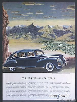 1940 Blue Lincoln-Zephyr Motor Car Wyoming Ranch Mountain Range Foothills Ad