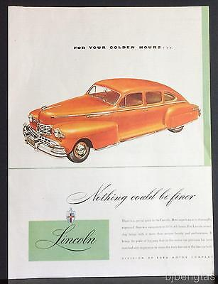 1946 Red Lincoln 4-Door Sedan Ford Motor Co Division Vintage Print Ad