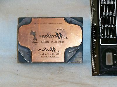 Meritone Victrola Record Needles Letterpress Printers Stamp Copper Wood 1930