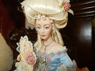 "Rare & Exquisite Marie Antoinette Franklin Mint 18"" Porcelain Doll Excellent!"