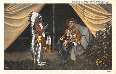 Chief Iron Tail And Buffalo Bill Indian Native American Antique Postcard K66146