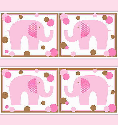 Girl Nursery Elephant Wallpaper Border Wall Art Decals Polka Dot Stickers Decor