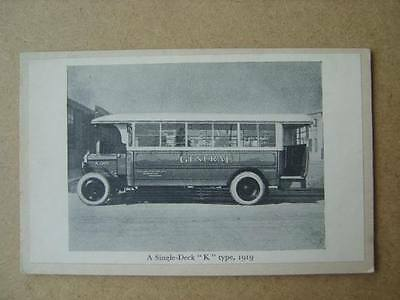 A SINGLE-DECK K TYPE BUS IN 1919 - PICTURE ON BLANK POSTCARD (1920s?)