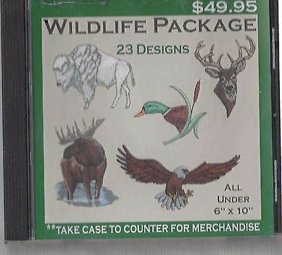 Set of 23 Embroidery Designs Wildlife Package CD in Most Formats