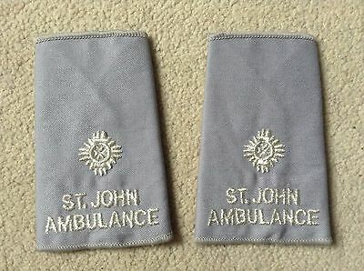 Pair of Vintage St John Ambulance Epaulettes