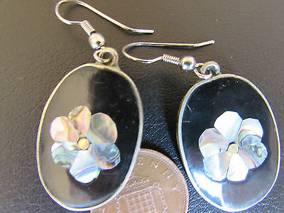 Alpaca   Mexican Silver Earrings With Abolone Settings